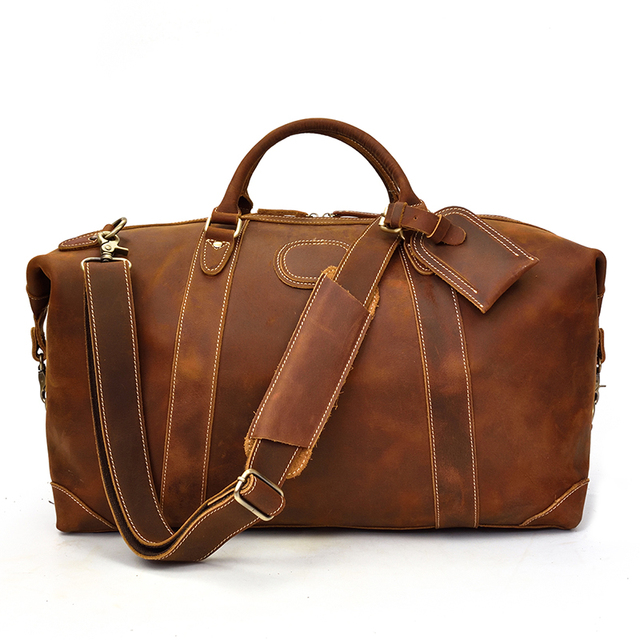 MAHEU 100% Genuine Crazy Horse Leather Men Travel Bags With Rivet Big HandBag For Male Cowhide Duffel Bag Mans Travelling Bag 1