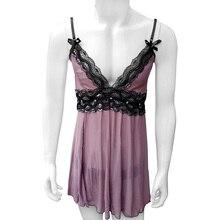 Transparent Sissy Men Sleepwear with Thong Sexy Dress Exotic Apparel Mesh Sheer Thing Cross Dresser Costume