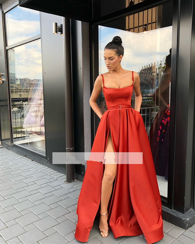 Red   Prom     Dress   2019 A-line Spaghetti Straps Slit Sexy Formal Long   Prom   Gown Evening   Dresses   Robe De Soiree