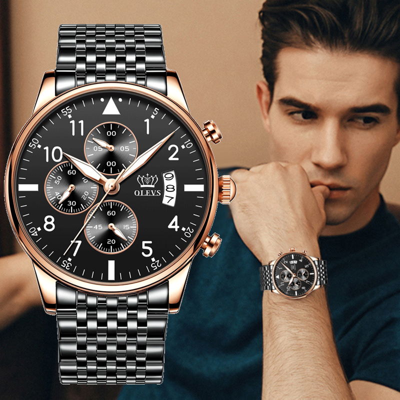 OLEVS  2020 New Fashion Mens Watches Top Brand With Stainless Steel Luxury Sports Chronograph High Quality Quartz Watch Men