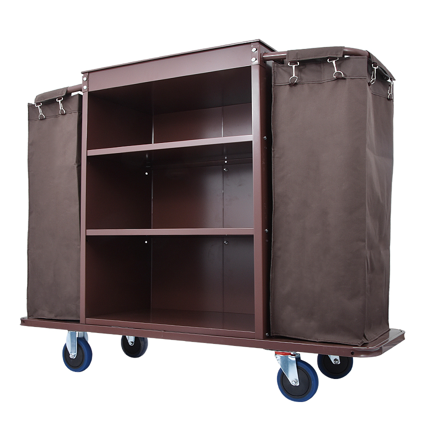 Hotel Trolley Stainless Steel Trolley Housekeeping Cart Hotel Room Service Car  Multifunctional Hotel Trolley With Bag Spread G