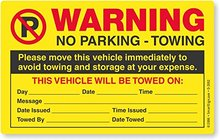 Prohibited label Please Move This Vehicle to Avoid Towing Pack of 50 Parking Violation Stickers | 5 x 8