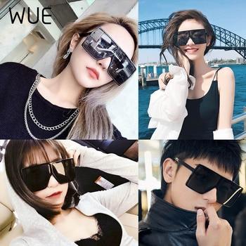 WUE 2019 NEW Fashion Sunglasses Women Square Luxury Brand Big Black Sun Glasses Female Mirror Shades Ladies Lunette Femme Oculos 6