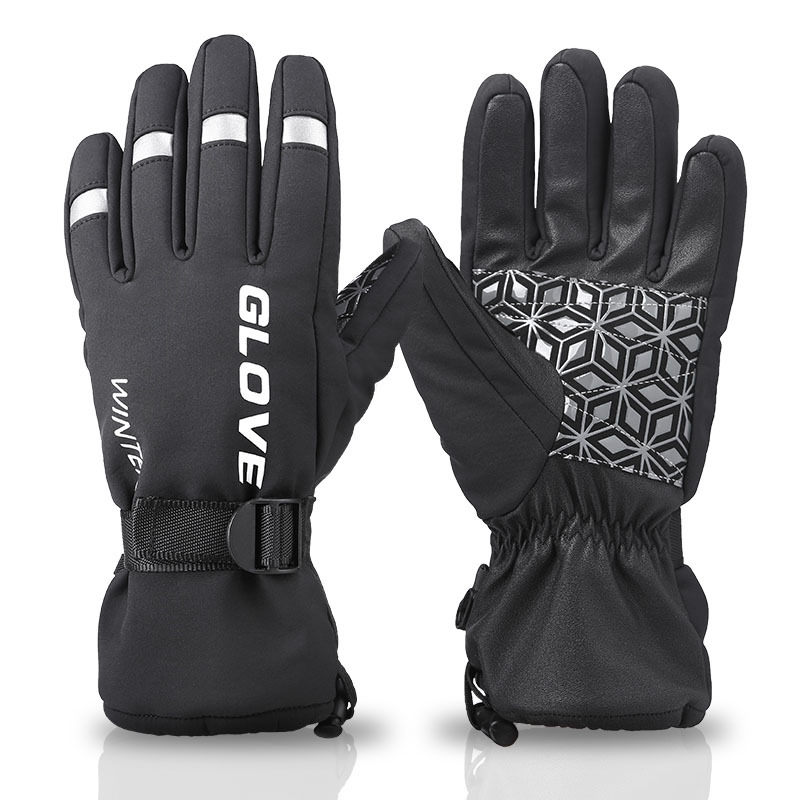 Winter Ski Gloves Cycling Full Finger Touch Screen Thermal Anti-Slip Reflective Bike Gloves For Unisex Windproof Outdoor Sports
