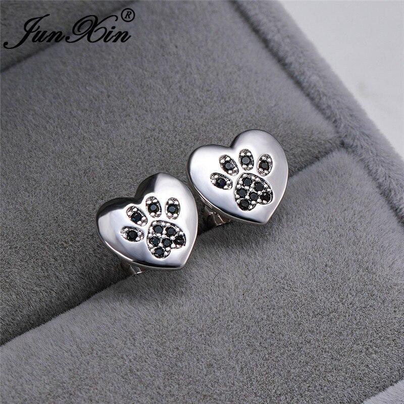 Cute Love Heart Earrings Silver Color Animal Bear Cat Dog Paw Stud Earrings For Women Men White Blue Stone Wedding Ear Studs