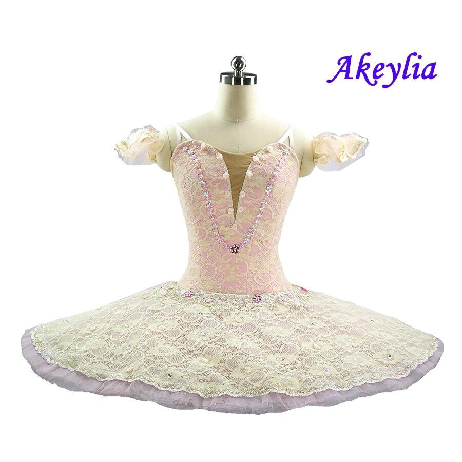 Pink Cream Sleep Beauty Professional Ballet Tutu International Ballerina Stage Costume Competition Pancake Platter Tutu Women