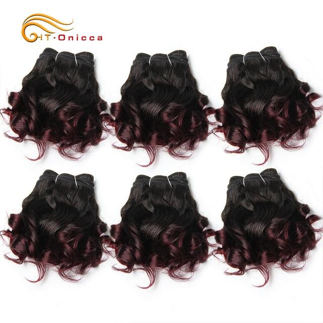 6 mechones de pelo rizado unids/lote de 8 pulgadas extensiones de pelo ondulado mechones brasileños Ombre Color 1B/2/4/30/33/99J extensión de cabello humano Remy