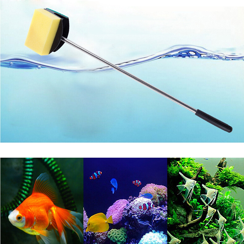 Glass Fish Tank Algae Yellow Green Double Side Sponge Aquarium Cleaning Brush Tool Aquarium Accessories Fisk Tank Tools