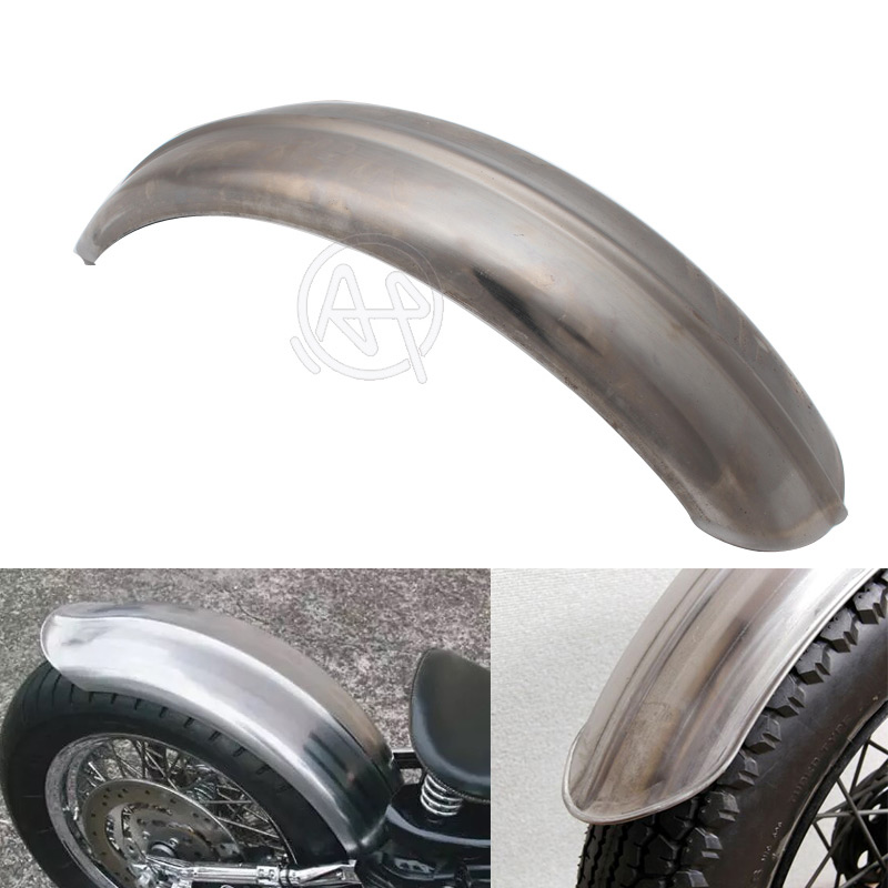 1pcs Motorcycle Old School Silver Steel Ribbed 5