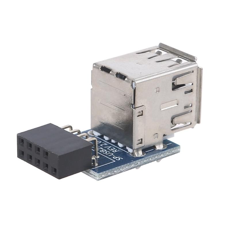 Горячая Распродажа USB 2,0 материнская плата заголовок 9pin материнская плата до 2 Порты USB 2,0 Dual USB A 9 контактный разъем адаптер конвертер 87HA