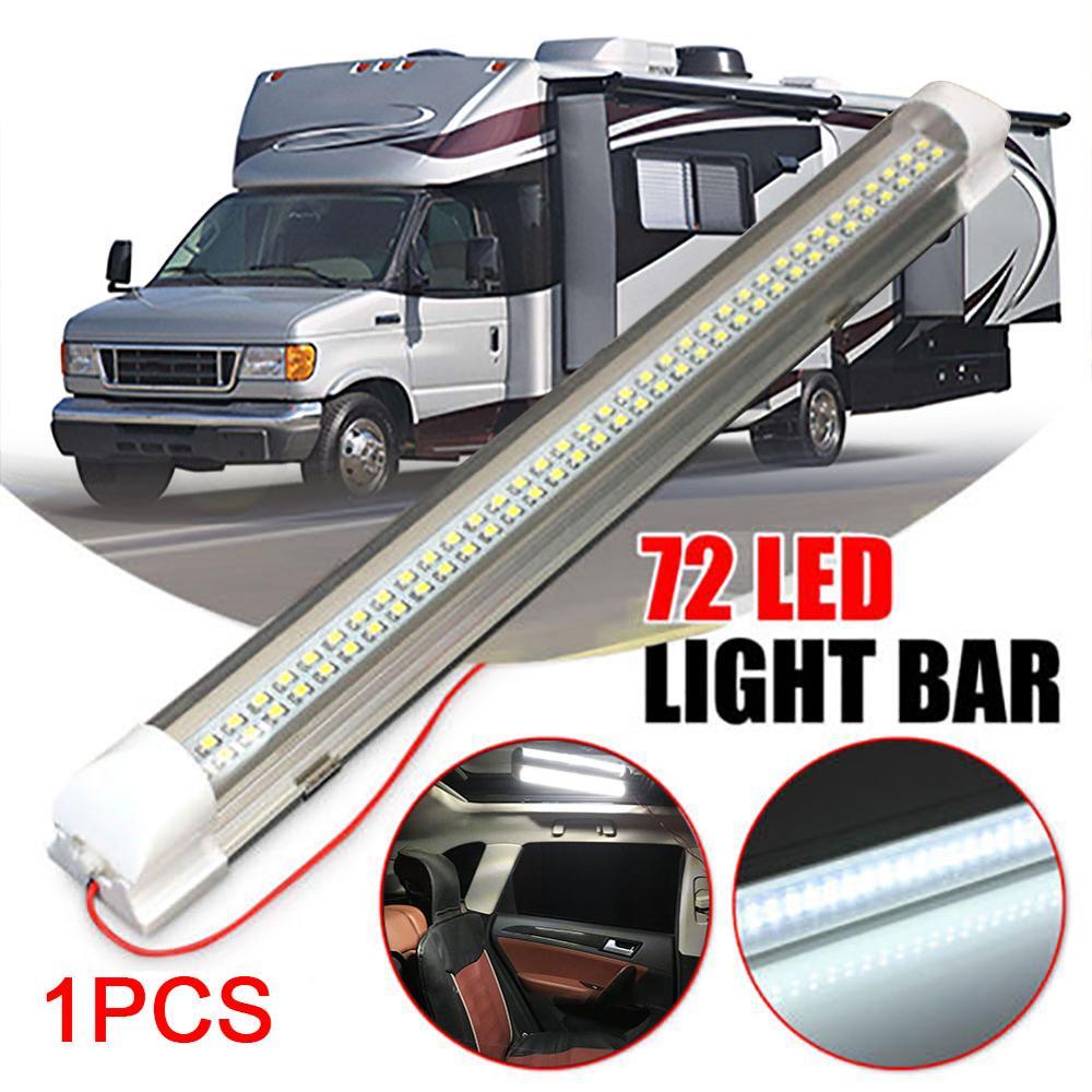 12V 72LED Car Interior Light Strip Bar Lamp Van Bus Caravan On/Off Switch 4.5W Ceiling Light For RV Camper Boat Indoor Ceilight