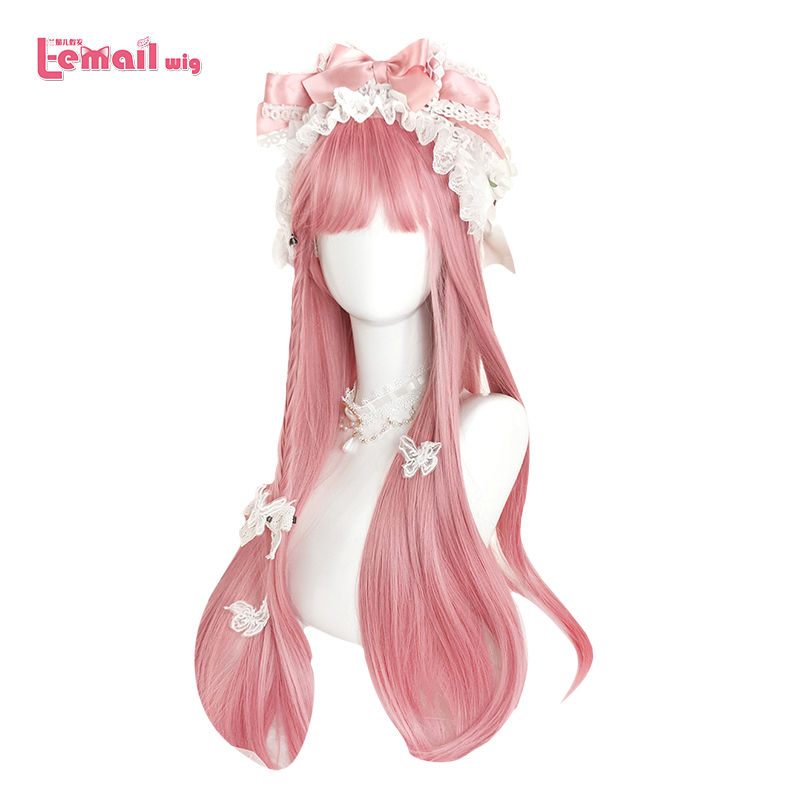 L-email Wig Long Pink Lolita Wigs 73cm Straight Woman Hair Cute Cosplay Wig Halloween Heat Resistant Synthetic Hair Perucas