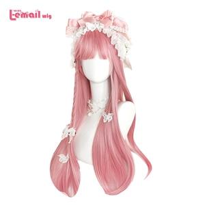 Image 1 - L email peruk uzun pembe Lolita peruk düz kadın saç sevimli Cosplay peruk Harajuku japon cadılar bayramı isıya dayanıklı sentetik saç