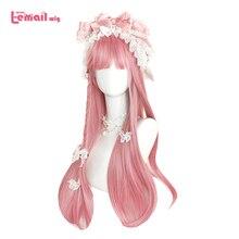 L email peruka długie różowe peruki Lolita proste kobiece włosy słodkie peruka do Cosplay Harajuku japoński Halloween żaroodporne włosy syntetyczne