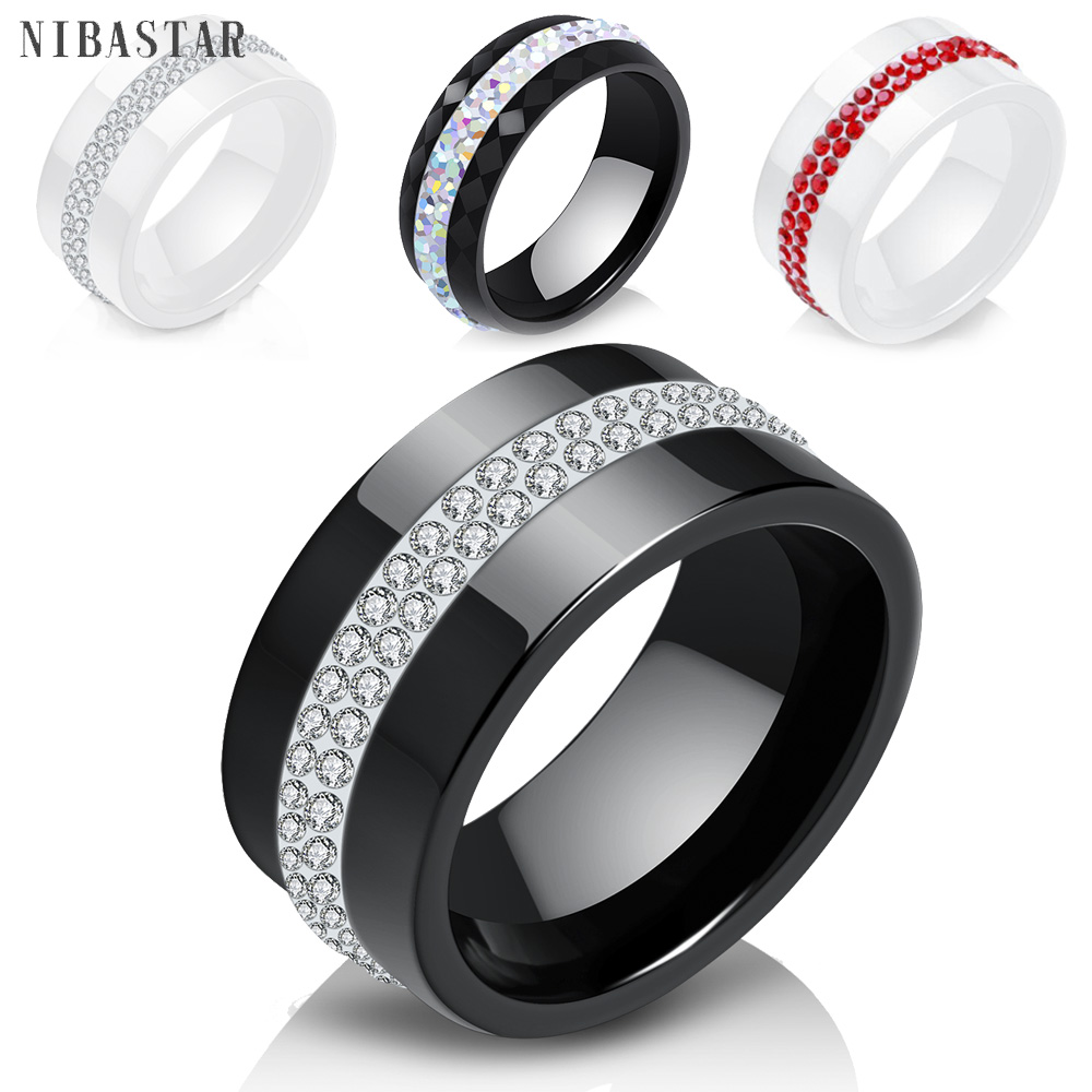 New 10MM Black and White 2 Row Crystal Ceramic Rings Women Engagement Promise Wedding Band Gifts For Women 1