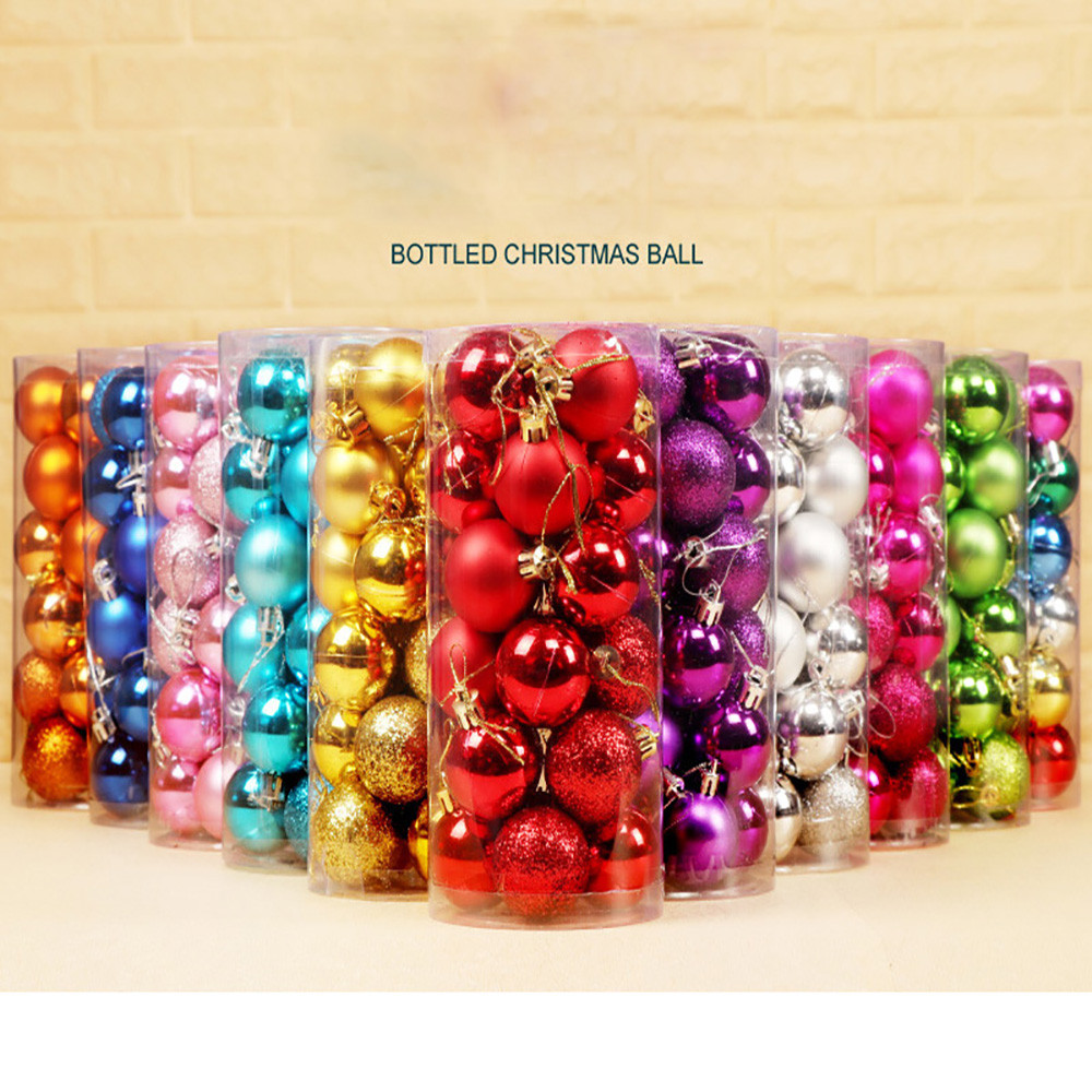 24pcs/Lot 3cm/6cm Christmas Tree Decoration Ball Ornaments Hang Shiny Bauble Ball For Home House Bar Party Decoration