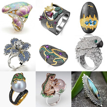 Boho Vintage Flower Ethnic Style Frog Parrot Animal Ring Opal Pearl Crystal Rings for Women Fashion Hip Hop Punk Jewelry Gifts