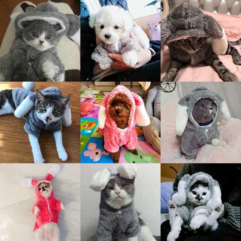 겨울 개 옷 귀여운 토끼 복장 애완 동물 복장 작은 개를위한 따뜻한 옷 고양이 의상 코트 자켓 강아지 스웨터 개