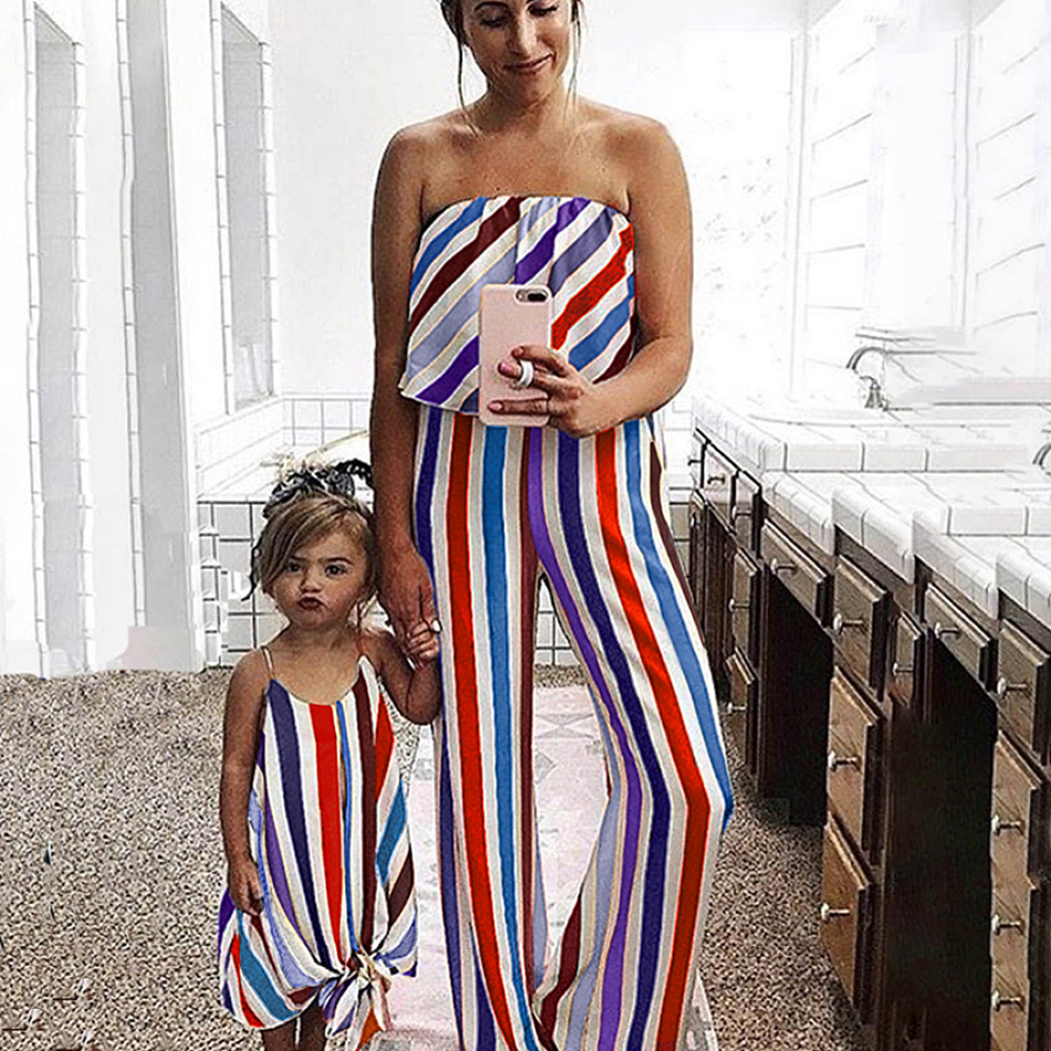 Mother and Daughter Matching Clothes 2020 Summer Stripe Off Shoulder Mom Jumpsuit Kid Girl Dresses Family Matching Outfit