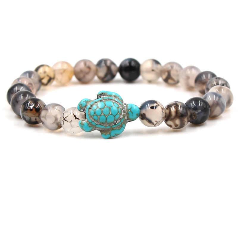 Pulseras de cuentas y brazalete de turquesa Natural piedra personalidad Animal Buda pulsera energía hombres piedra volcánica pulseras joyería