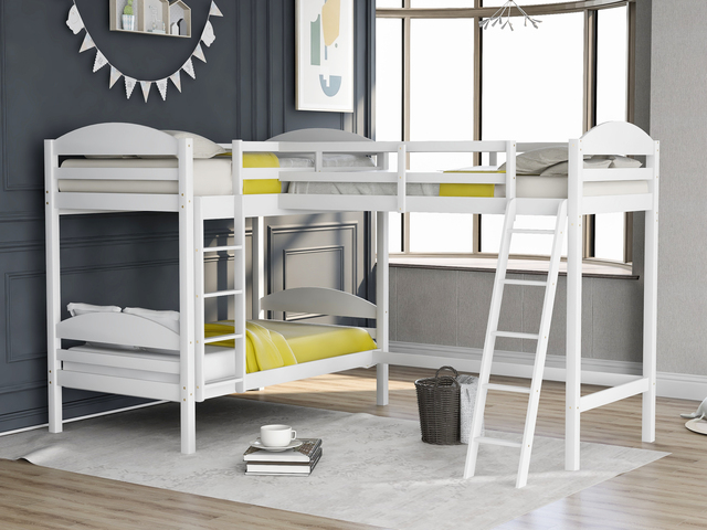 Twin over Twin Bunk Beds with Slide Loft Bed 1