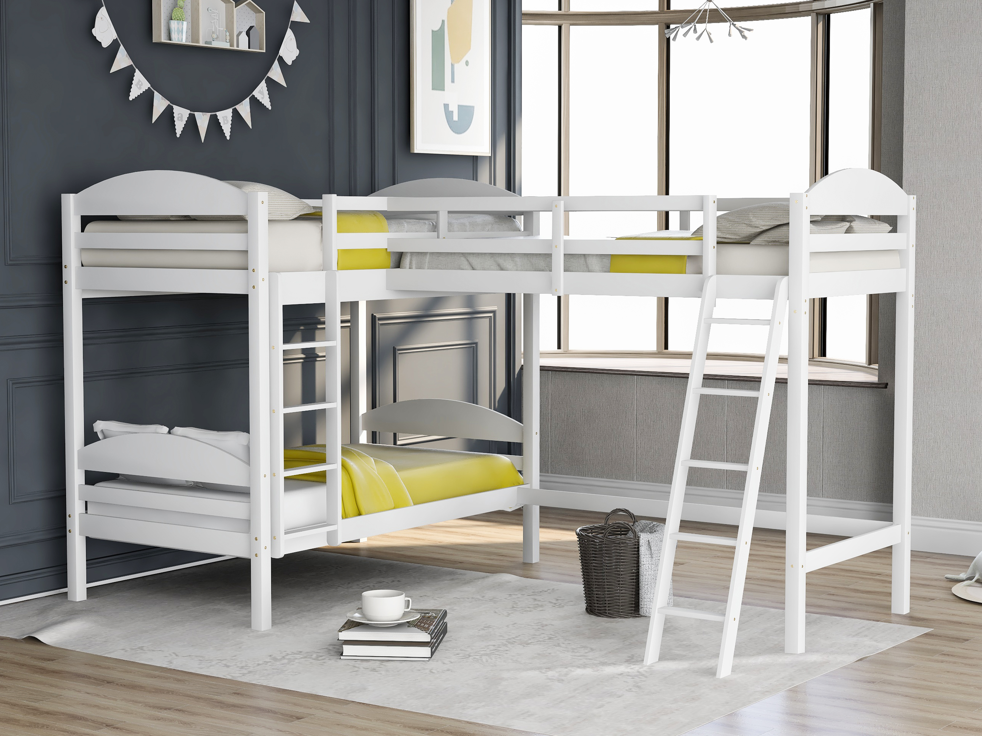 Picture of: Eggree Twin Over Twin Bunk Beds Wood L Shaped Twin Kids Bed Platform Bed Loft Bed White Gray Espresso Aliexpress