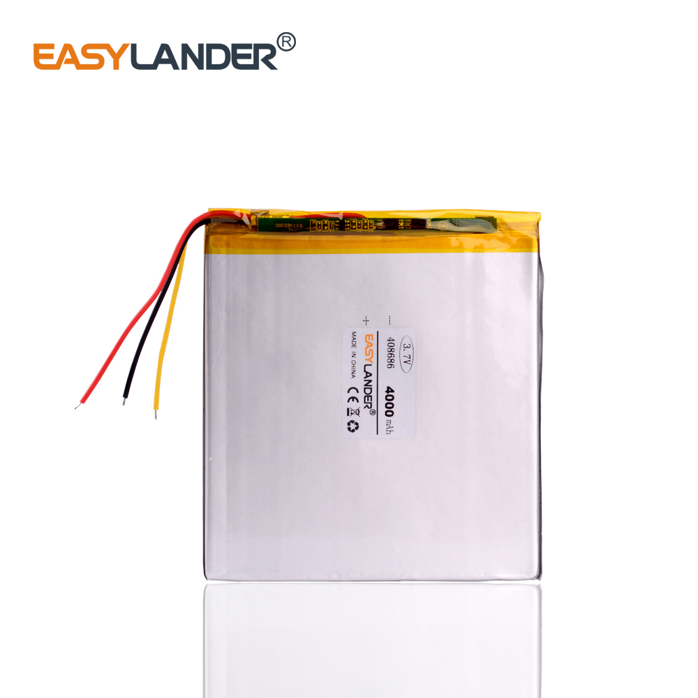 3 wire The tablet <font><b>battery</b></font> <font><b>3.7V</b></font> <font><b>4000mAH</b></font> 408686 Polymer lithium ion / Li-ion <font><b>battery</b></font> for tablet pc <font><b>battery</b></font> image
