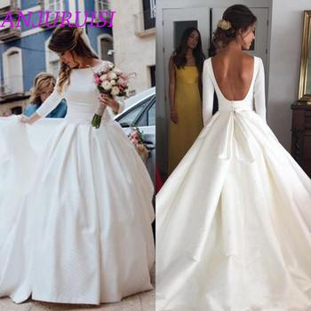 ANJURUISI białe satynowe proste 3 4 rękawy suknie ślubne 2020 eleganckie Backless suknie ślubne bez pleców tanie suknie ślubne tanie i dobre opinie SCOOP Trzy czwarte Satin Sweep brush pociąg Długość podłogi zipper REGULAR simple Naturalne A-LINE china AA471