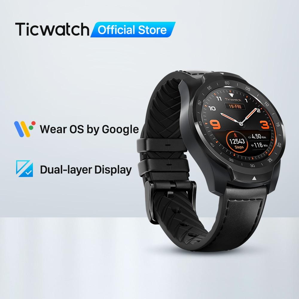 TicWatch Pro 512M (odnowiony) męski zegarek nosić OS przez Google dla iOS i Android NFC płatności wbudowany GPS wodoodporny Bluetooth