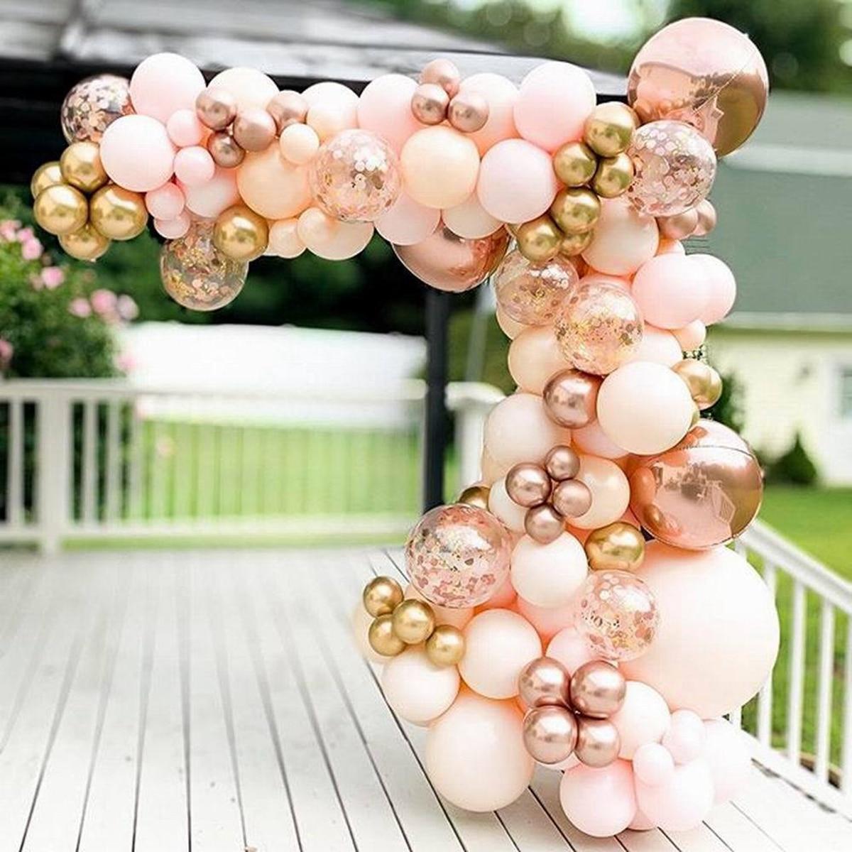 Macaron Pink Balloon Garland Arch Kit Wedding Birthday Party Decoration Kids Globos Rose Gold Confetti Latex Ballon Baby Shower 1
