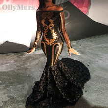 Cheap Sparkly Sexy Sheer Long Sleeve Mermaid Boat Neck Golden Sequin African Floor Length Black Prom Dresses 2019 For Party