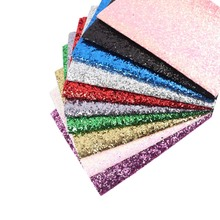 AHB 50pcs 22*30cm Chunky Glitter Synthetic Faux Leather Sheet A4 PU Fabric DIY Bows Material Craft Supplies