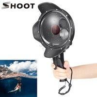 Shoot 방수 돔 포트 필터 전환 가능한 돔 다이브 커버 트리거 gopro hero 7 6 5 go pro 7 6 액세서리 용 블랙 하우징|스포츠 캠코더 케이스|   -