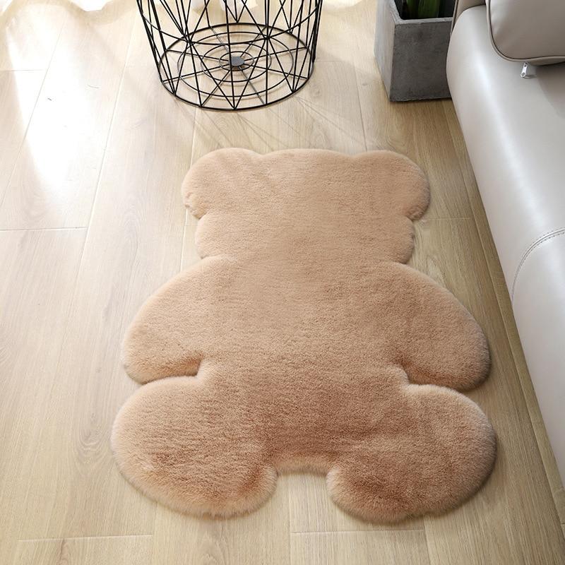 Alfombra de oso súper suave de seda para interiores, moderna alfombra para sala de estar y dormitorio, alfombra antideslizante suave de 60cm x 80cm, alfombra gris, blanca y marrón para niños