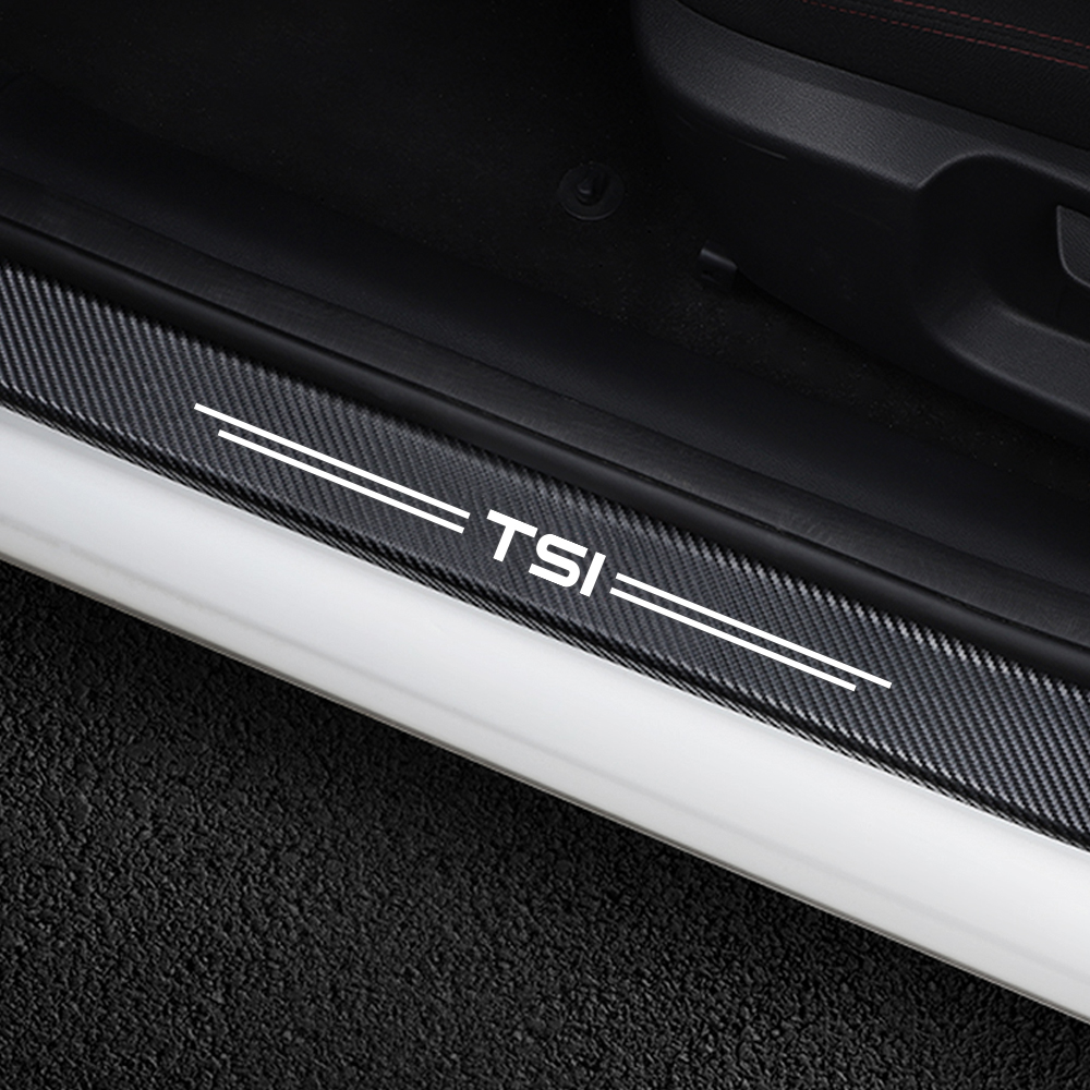 4PCS Car Door Sill Stickers For VW <font><b>Volkswagen</b></font> TSI T5 T4 CC Tiguan Passat B5 B6 B8 Polo <font><b>Golf</b></font> <font><b>7</b></font> 6 4 5 3 Beetle Touareg Accessories image