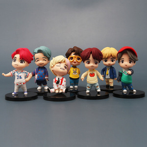 7PCS/Set KPOP Cartoon Bangtan Boys Groups Model Toys JUNGKOOK JIMIN SUGA Keychain Action Figures Toy Keyring Kid Gift Birthday