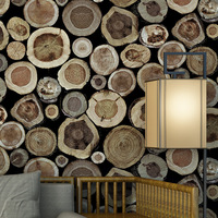 Chinese Style Imitation Wood grain Stakes Wood 3D Retro Stump Wallpaper Coffee Shop Restaurant Bar Hotpot Restaurant Wallpaper
