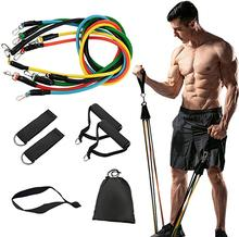 11 pçs/set bandas de resistência conjunto puxar corda banda de fitness expansor elásticos tubos de yoga látex bandas elásticas equipamentos de fitness