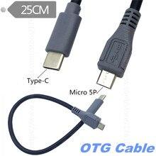 USB 3.1 Type C Male Naar Micro USB 5 Pin B Male Plug Converter OTG Adapter Lead Data Kabel voor mobiele Macbook 25 cm/1 m