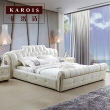 Качественный античный дизайн спальни мебель Роскошная мягкая кровать 1,8 м
