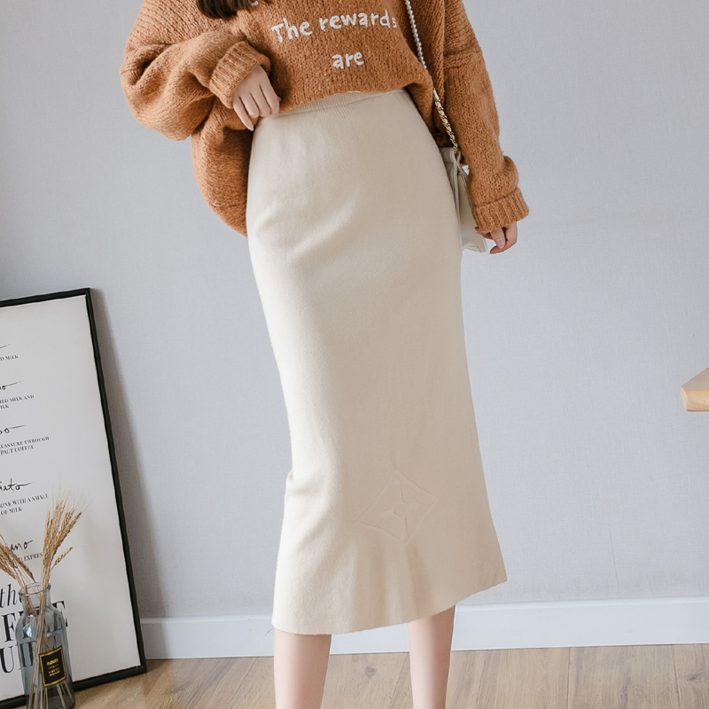 Women Knitting Skirt Fall Winter A Line High Waist Package Hip Skirt Solid Elastic Band Ribbed Ribbed Mid-Long Skirt Black