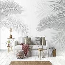 Mural Wallpaper Bedroom Backdrop Black Custom 3d Dining-Room Modern for Leaves-Art White