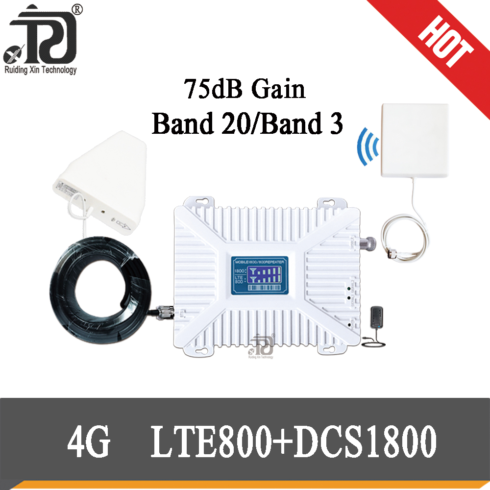 75dB Gain  Repeater 1800mhz LTE 800 4G Signal Booster  LTE 4G  Mobile Dual Band Cellular Signal Repeater