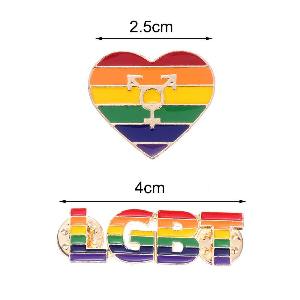 1 adet LGBT gökkuşağı eşcinsel broş eşcinsel rozeti Denim şapka broş erkekler kadın giyim yaka Pin takı dikiş aksesuarları