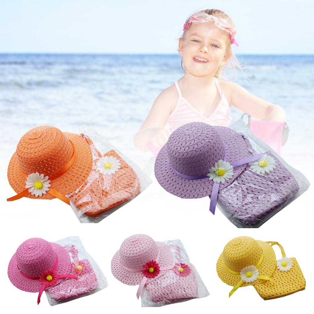 Flower Sun Straw Hat Girl Durable Portable Summer Sun Cap Outdoor Riding Purse Sets With 2 Handles