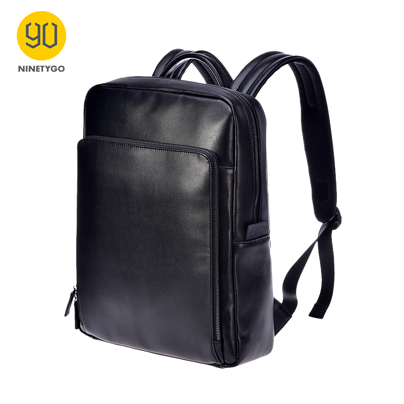 NINETYGO 90FUN Fashion PU Leather Backpack 14 Inch Laptop Bag Light-weight Daypack Bussiness Waterproof College School Men
