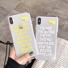 New cute and simple English alphabet couple phone case for iphone Xs MAX XR X 6 6s 7 8 plus cool soft clear TPU back cover