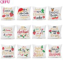 QIFU Merry Christmas Flannel Cushion Cover Ornaments Decorations For Home 2019 Natal Santa Claus Pillowcase Happy New Year Gifts