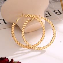EN Twisted Big Hoop Earrings Gold Round Ear Rings For Women Girl Geometric 2020 Statement Circle Earring Fashion Jewelry Brincos