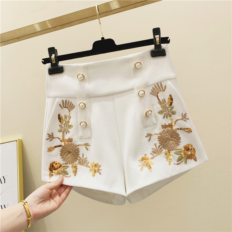 French Style Embroidered Double-breasted Shorts Female Spring Retro Pearl Button High-Waist Temperament Sequined Shorts Nancylim